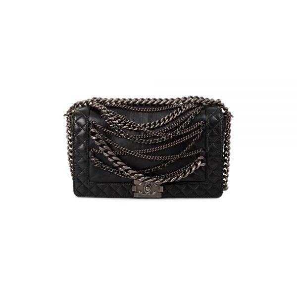 Chains Black Leather Medium Boy Bag by Chanel - Le Dressing Monaco