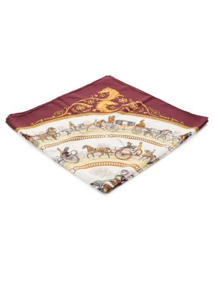 Burgundy Promenade de Longchamps Silk Scarf by Hermès - Le Dressing Monaco