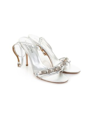 Silver High Heel Strass Sandals Ankle Strap by Valentino - Le Dressing Monaco