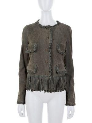 Khaki Suede Jacket Small Fringes by Ermanno Scervino - Le Dressing Monaco