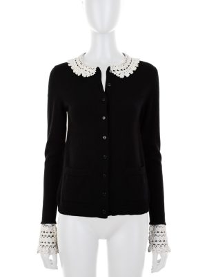 Crochet Detail Black Cashmere Cardigan by Dolce e Gabbana - Le Dressing Monaco