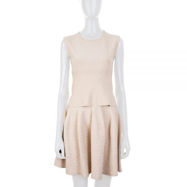 Beige Striped Top And Skirt With Motives by Alaia - Le Dressing Monaco