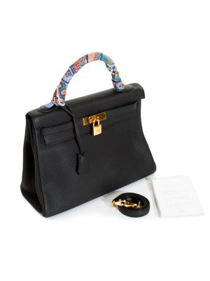 Kelly II 32 Black Togo Leather With Twilly by Hermès - Le Dressing Monaco