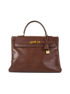 Kelly 35 Havana Courchevel Leather by Hermès - Le Dressing Monaco