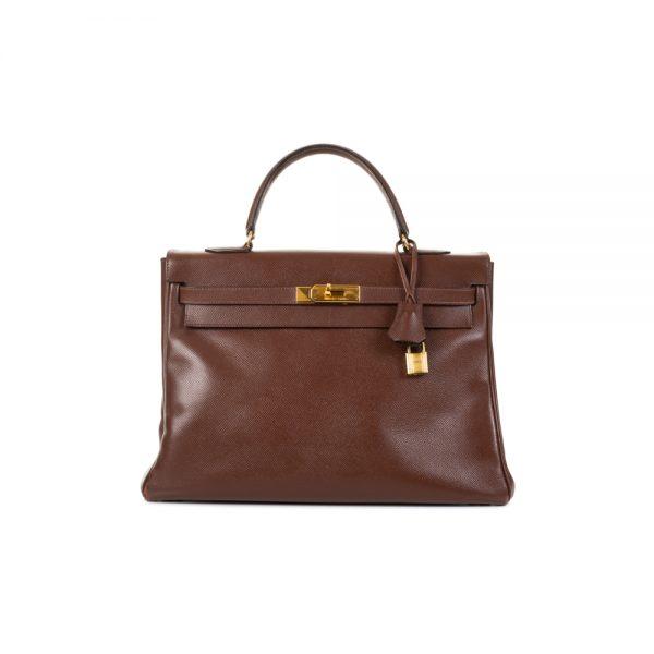 Kelly 35 Havana Courchevel Leather by Hermès - Le Dressing Monaco