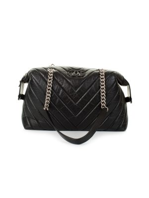 Black Padded Chevrons Leather Bowling Bag by Chanel - Le Dressing Monaco