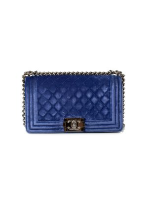 Small Cobalt Blue Velvet Boy Handbag by Chanel - Le Dressing Monaco