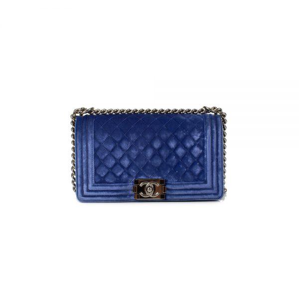 Small Cobalt Blue Velvet Boy Handbag by Chanel - Le Dressing Monaco