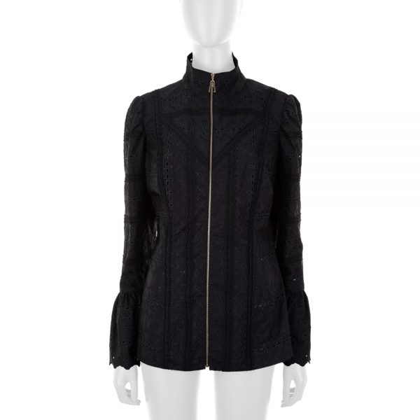 Black Zipped Broderie Anglaise Jacket by Louis Vuitton - Le Dressing Monaco