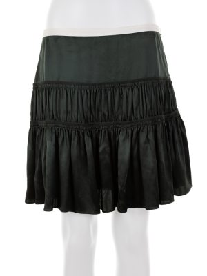 Dark Green Flounced Low Waist Mini Skirt by Chloé - Le Dressing Monaco