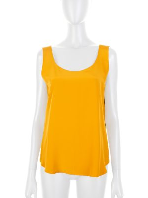 Mustard Sleeveless Silk Top by Deitas - Le Dressing Monaco