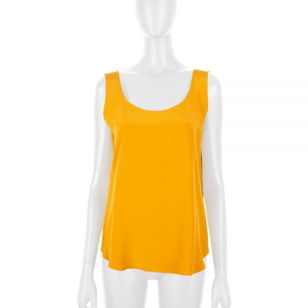 Mustard Sleeveless Silk Top by Deitas - Le Dressing Monaco
