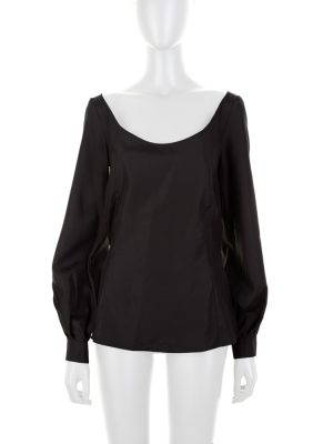 Long Sleeved Black Silk Blouse by Deitas - Le Dressing Monaco