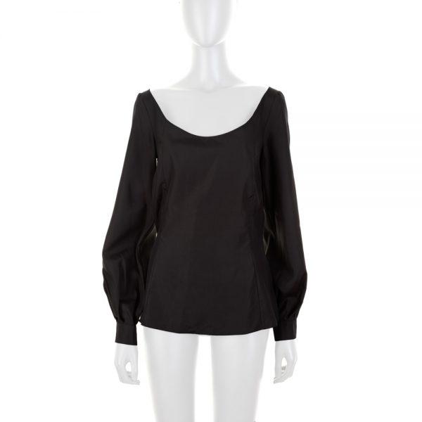 Long Sleeved Black Silk Blouse by Deitas - Le Dressing Monaco