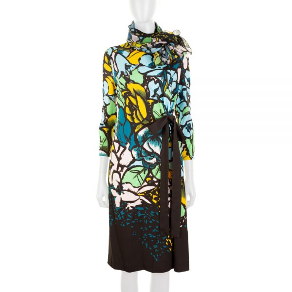 Flower Printed Dress With Matching Scarf by Escada - Le Dressing Monaco