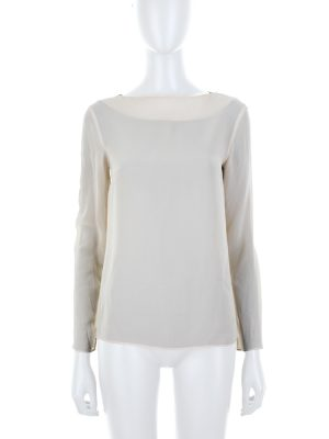 Long Sleeved Beige Crepe Top by Deitas - Le Dressing Monaco