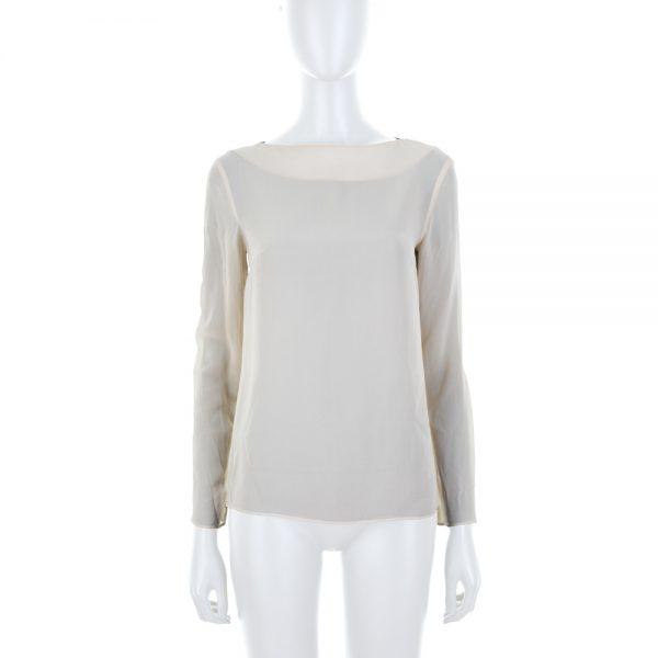 Long Sleeved Beige Crepe Top by Deitas - Le Dressing Monaco