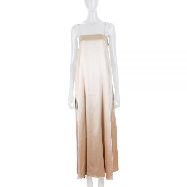 Champagne Strappy Sating Dress by Deitas - Le Dressing Monaco