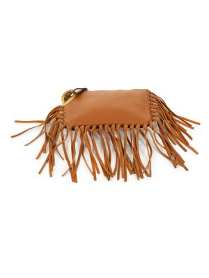 Brown Fringed Clutch Gold Beetle by Valentino - Le Dressing Monaco