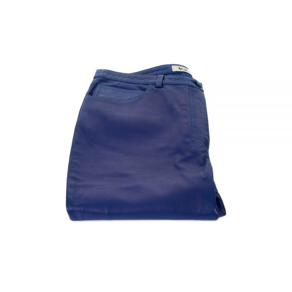 Electric Blue Leather Pants by Acne - Le Dressing Monaco