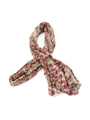 Roses Printed Pleated Long Scarf by Saint Laurent - Le Dressing Monaco