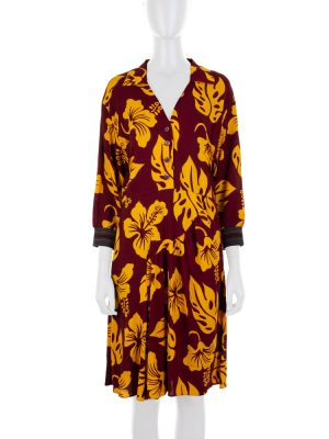 Tropical Print Burgundy Dress by Prada - Le Dressing Monaco