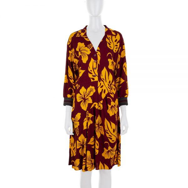 Tropical Print Burgundy Dress by Prada - Le Dressing Monaco