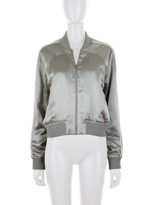 Soft Green Silk Short Bomber Jacket by Balenciaga - Le Dressing Monaco