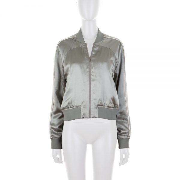 Soft Green Silk Short Bomber Jacket by Balenciaga - Le Dressing Monaco