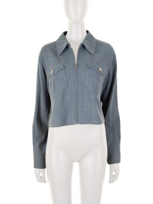 Zipped Short Blue Cotton Jacket by Chanel - Le Dressing Monaco