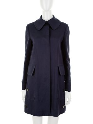 Cotton Navy Coat Two Large Pockets by Valentino - Le Dressing Monaco