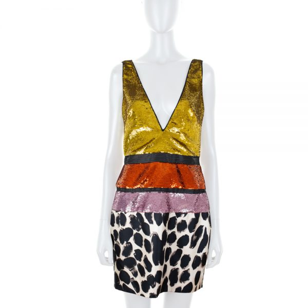 V Neck Mini Sequin and Print Dress by Tom Ford - Le Dressing Monaco