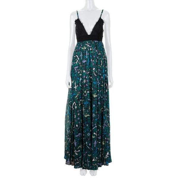 Long Cotton Printed Dress With Lace by Valentino - Le Dressing Monaco