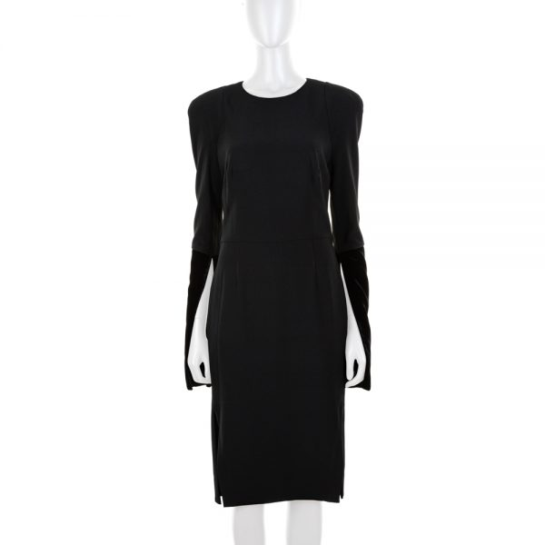 Black Dress with Slits And Velvet by Tom Ford - Le Dressing Monaco