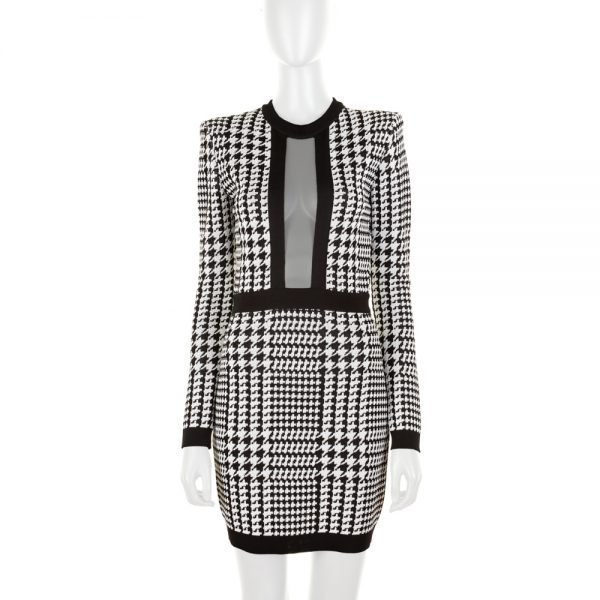 Knitted Mini Pied de Poule Dress by Balmain - Le Dressing Monaco