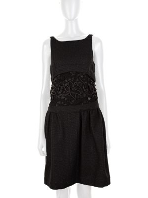 Black Mini Cocktail Dress with Incrustations by Chanel - Le Dressing Monaco