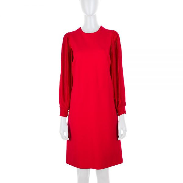 Pleated Arms Raspberry Cocktail Dress by Gucci - Le Dressing Monaco