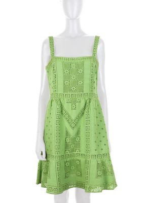 Green Short Cotton Lace Dress by Valentino - Le Dressing Monaco