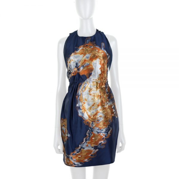 Embroidered Seahorse Navy Mini Dress by Valentino - Le Dressing Monaco
