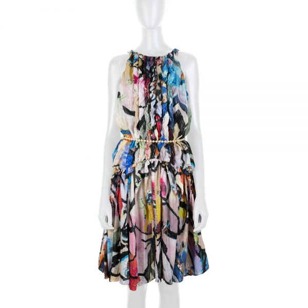 Ocean Life Print Ruffled Dress Pearl Belt by Chanel - Le Dressing Monaco