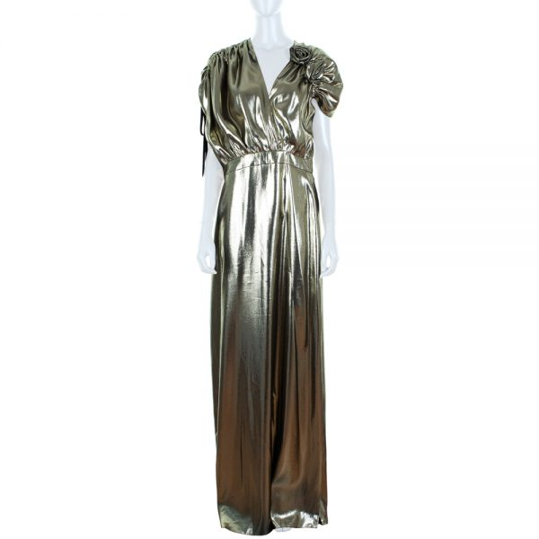 Gold Lame Evening Gown With Flower by Lanvin - Le Dressing Monaco