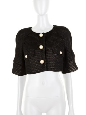 Black Net Bolero With Pearl Buttons by Chanel - Le Dressing Monaco