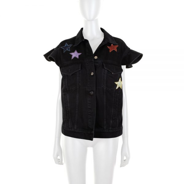 Black Jeans Waist Coat Sequin Stars by Valentino - Le Dressing Monaco