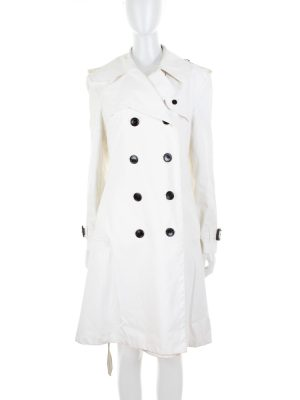 Off-White Cotton Trench Coat by Burberry - Le Dressing Monaco