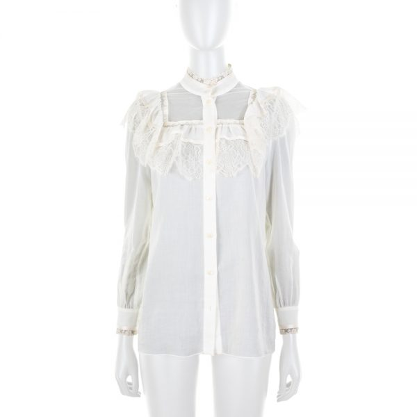 Off-White Lace Shirt by Saint Laurent - Le Dressing Monaco