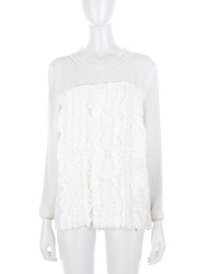 Off-White Ruffled Silk Blouse by Chanel - Le Dressing Monaco