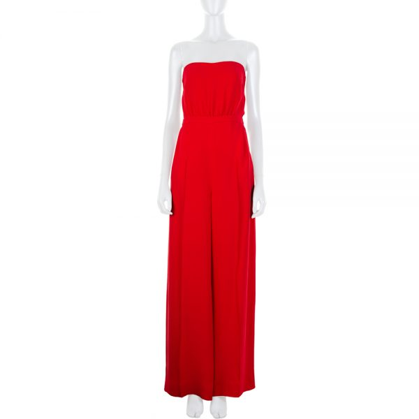 Red Silk Bustier Jumpsuit by Valentino - Le Dressing Monaco
