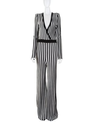 Black and White Striped Knitted Jumpsuit by Balmain - Le Dressing Monaco