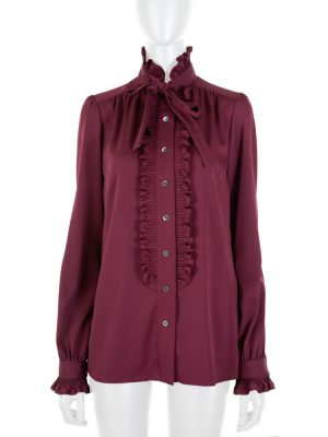 Purple Silk Ruffle Shirt by Dolce e Gabbana - Le Dressing Monaco