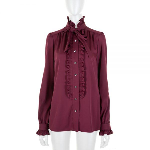Purple Silk Ruffle Shirt by Dolce e Gabbana - Le Dressing Monaco